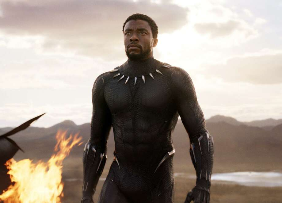 "Chadwick Boseman in a scene from ""Black Panther."" Photo: / Associated Press / Marvel Studios"