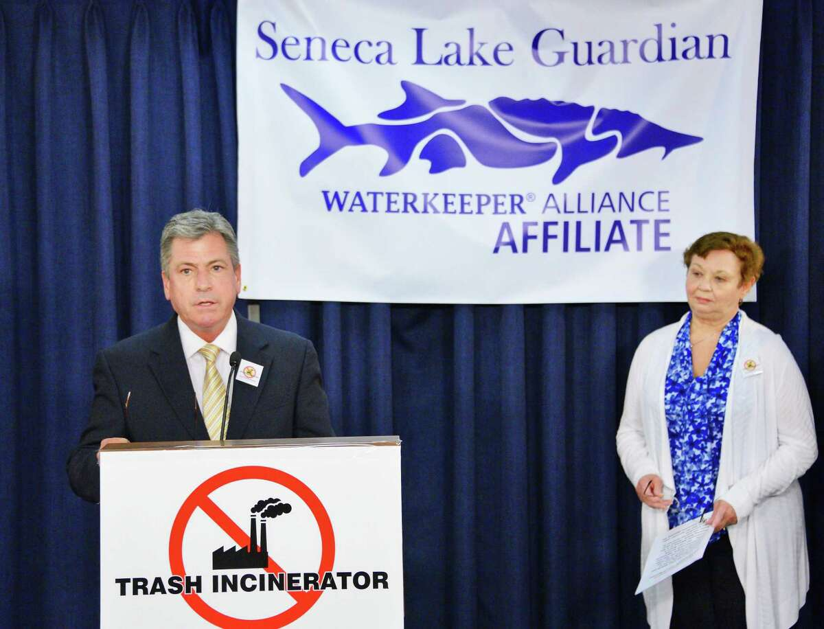 Joseph Campbell, left, president of the nonprofit organization Seneca Lake Guardian and Sue Ellen Balluff of the Town of Romulus Planning Board during a news conference calling on Governor Cuomo to reject the plan for a proposed trash incinerator in the Finger Lakes area Tuesday Feb. 20, 2018 in Albany, NY. (John Carl D'Annibale/Times Union)