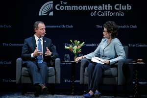Rep. Adam Schiff is interviewed by former US Representative Ellen Tauscher at The Commonwealth Club of California at Marines Memorial Theater in San Francisco, Calif., on Tuesday, February 20, 2018.