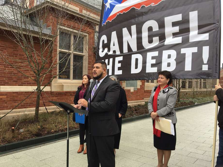 State Rep. Christopher Rosario of Bridgeport, chair of the state Legislature Black and Puerto Rican Caucus, asks Yale to cancel Puerto Rican debt. Photo: Mary O'Leary / Hearst Connecticut Media