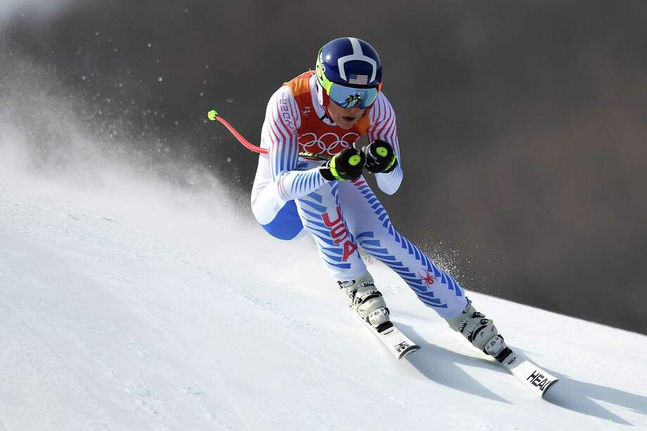 Lindsey Vonn gives it her best shot in the women's downhill Wednesday at the Jeongseon Alpine Center. The 33-year-old American wound up with the bronze, the third Olympic medal of her storied racing career. Photo: JAVIER SORIANO, Contributor / AFP or licensors