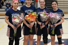 The four members of the Greens Farms Academy girls basketball program who played their final home game at Coyle Gym last week, included, from left, Hannah Kozdeba (Shelton), Alex Wagner (Southport), Bella Litt (Darien) and Molly Mitchell (Southport).