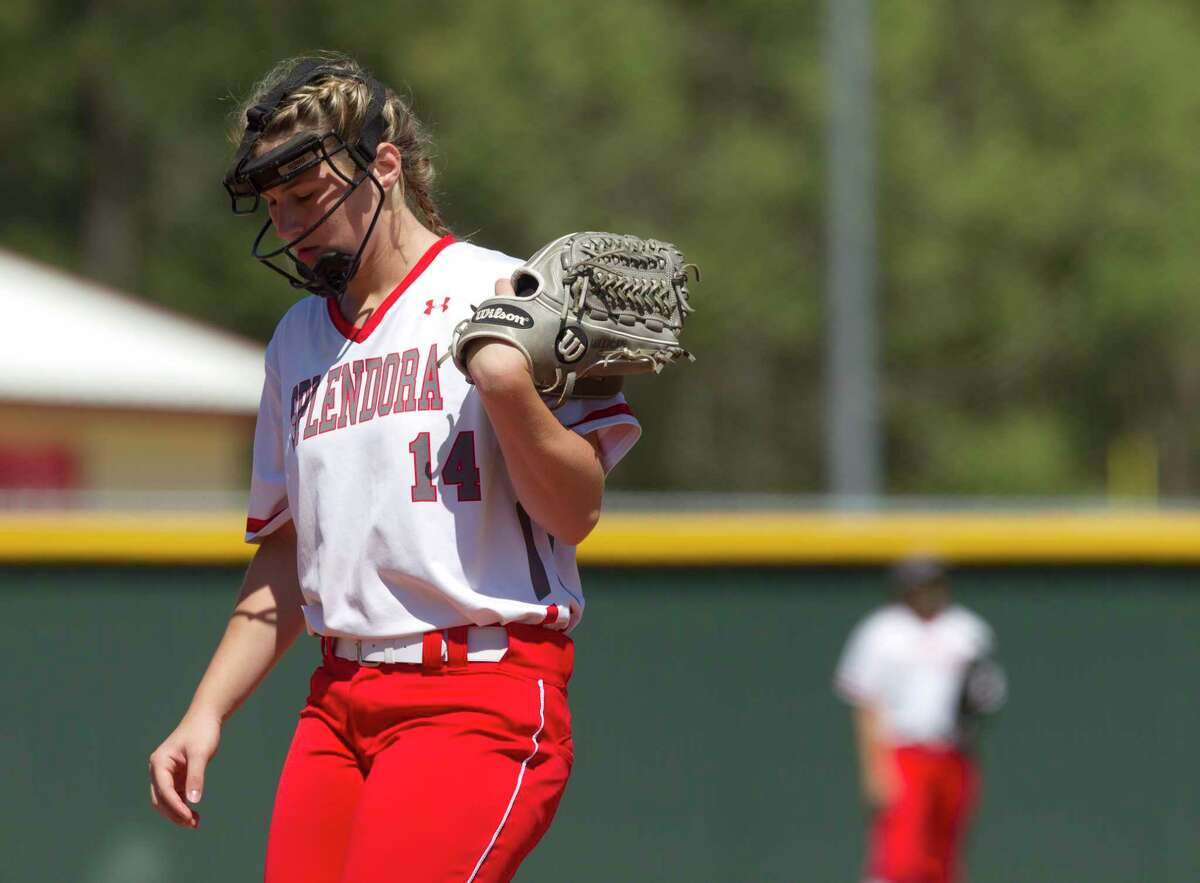Splendora pitcher Caleigh Millican (14) reacts after Crosby ties the game at two runs apiece following a pair of errors during the fourth inning of a District 21-5A high school softball game Wednesday, March 15, 2017, in Splendora. Crosby defeated Splenodra 5-3.