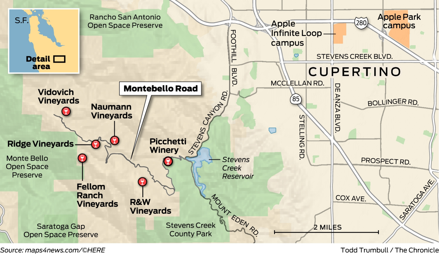 Cupertino Italy Map.How Montebello Road Became California S Greatest Cabernet Tour