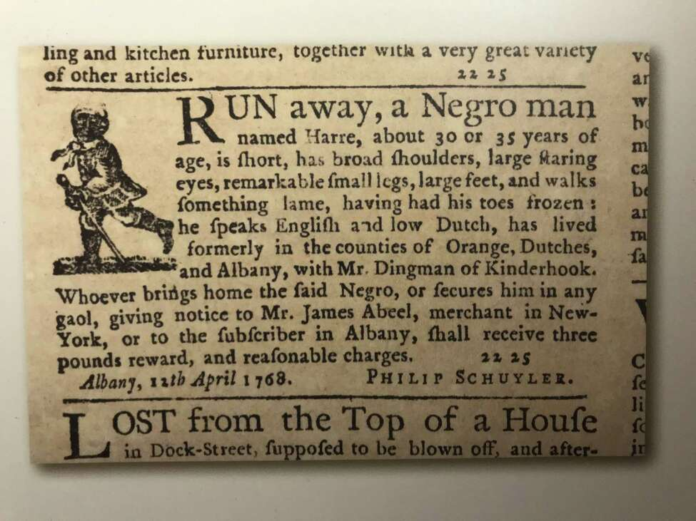 A 1768 ad for Harre, a runaway from the Philip Schuyler household, which is included in a published collection of such ads (