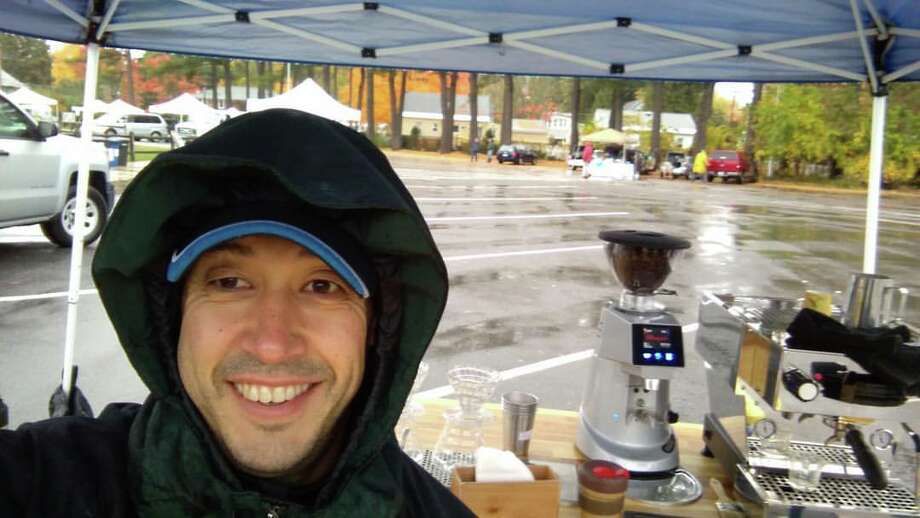 Brewtus owner Stephen Pivonka II at the Delmar Farmers Market in the fall of 2016. Photo: Brewtus Roasting