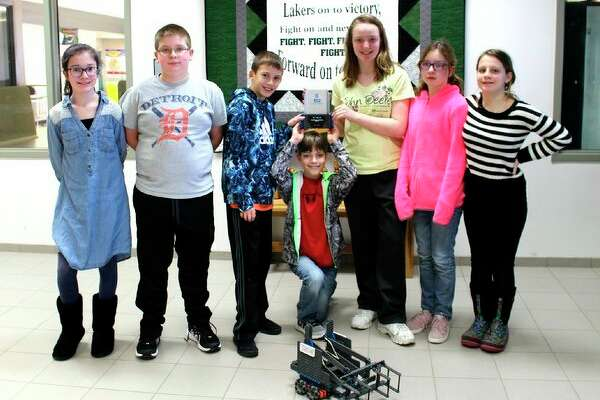 The Laker Junior High sixth-grade VEX IQ robotics team took first place at a recent competition, and they will be going to the state competition in Charlotte, Mich. The team is coached by Don Manchester. Pictured from the left are team members: Julian Gasta, Luke Potter, Gavin Smith, Trenten UIfig, McKensie Blackstock, Payton Graves and Brooklyn Hayes. (Submitted Photo)