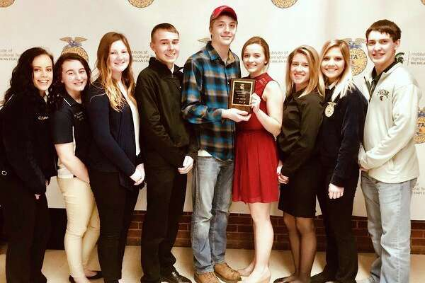 The North Huron FFA Agricultural Issues team consists of (from left): Kelsey Voss, Elizabeth Trudeau, Olyvia Majeski, Benjamin Zaleski, Alex Schornack, Grace Wiley, Faith Yageman, Kate Jaworski, and Nick Craig. The team won the Regional Agricultural Issues Contest and will compete in the state finals. (Submitted Photo)