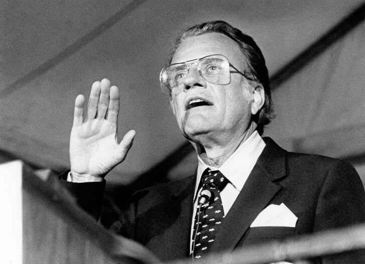 11/08/1981 - Evangelist Billy Graham addresses crowd at Rice Stadium during his eight-day Crusade in Houston.