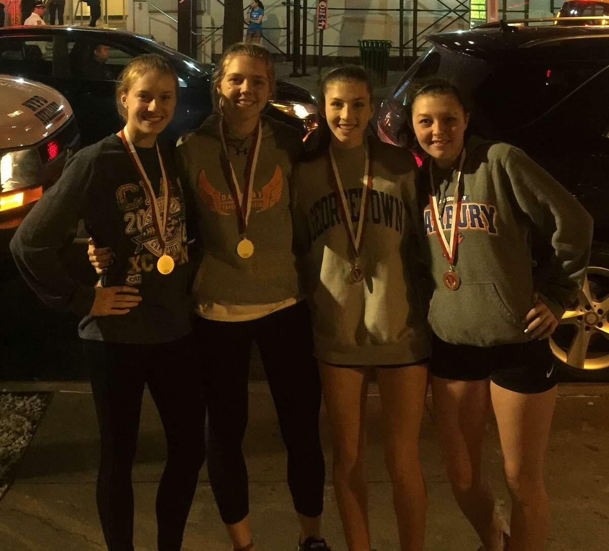 The Danbury High School girls indoor track and field team's distance medley relay team of Leah Sarkisian, Olivia Turk, Cassandra Sturdevant and Lauren Moore placed fourth at the Eastern States Championships on Feb. 20, 2018 at the Armory in New York City.