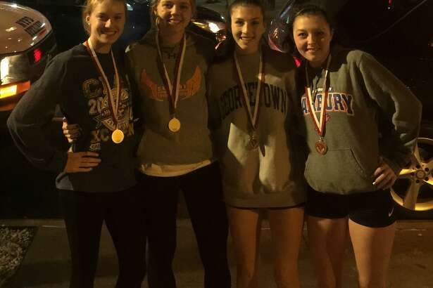 The Danbury High School girls indoor track and field team's distance medley relay team of Alexandra Chakar, Olivia Turk, Cassandra Sturdevant and Lauren Moore placed fourth at the Eastern States Championships on Feb. 20, 2018 at the Armory in New York City.