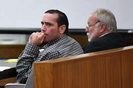 Jason Wade Delacerda, left, sits in a Kountze courtroom during the beginning of his capitol murder trial on Monday. Delacerda, 40, is accused of killing a 4-year-old girl in 2011. Photo taken Monday, February 20, 2018 Guiseppe Barranco/The Enterprise