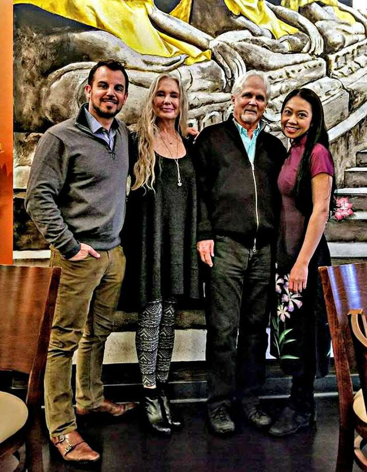 "From left are artist and Herd restaurant co-owner Patrick Ganino, actor and director Tony Dow, who played Wally in Leave it to Beaver; his wife Lauren Dow and Chu Ngo, owner of Lan Chi's Vietnamese Restaurant. Dow visited Lan Chi for lunch and Herd for dinner Feb. 21 in Middletown. Dow appeared at the Katherine Hepburn Cultural Arts Center in Old Saybrook Sunday, then flew back to his home in California. Ganino, friends with Dow, said the actor is not unlike the wholesome and naive character he played in the TV sitcom, which ran from 1957 to 1963. ""He's a really nice dude, a great guy,"" he said of his friend, who went on to direct shows like ""Coach"" and ""Meet the Hendersons."" Photo: Contributed Photo"
