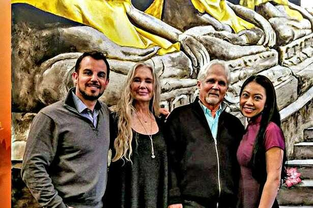 """From left are artist and Herd restaurant co-owner Patrick Ganino, actor and director Tony Dow, who played Wally in Leave it to Beaver; his wife Lauren Dow and Chu Ngo, owner of Lan Chi's Vietnamese Restaurant. Dow visited Lan Chi for lunch and Herd for dinner Feb. 21 in Middletown. Dow appeared at the Katherine Hepburn Cultural Arts Center in Old Saybrook Sunday, then flew back to his home in California. Ganino, friends with Dow, said the actor is not unlike the wholesome and naive character he played in the TV sitcom, which ran from 1957 to 1963. """"He's a really nice dude, a great guy,"""" he said of his friend, who went on to direct shows like """"Coach"""" and """"Meet the Hendersons."""""""