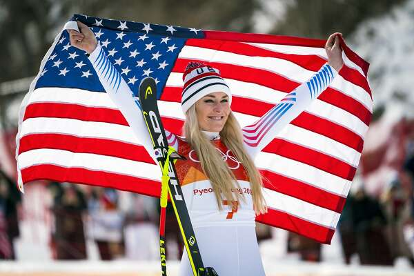Lindsey Vonn of the U.S. celebrates after winning the bronze medal in the women's downhill in Pyeongchang, South Korea, on Wednesday, Feb. 21 2018. It is the third Olympic medal of her career. (Doug Mills/The New York Times)