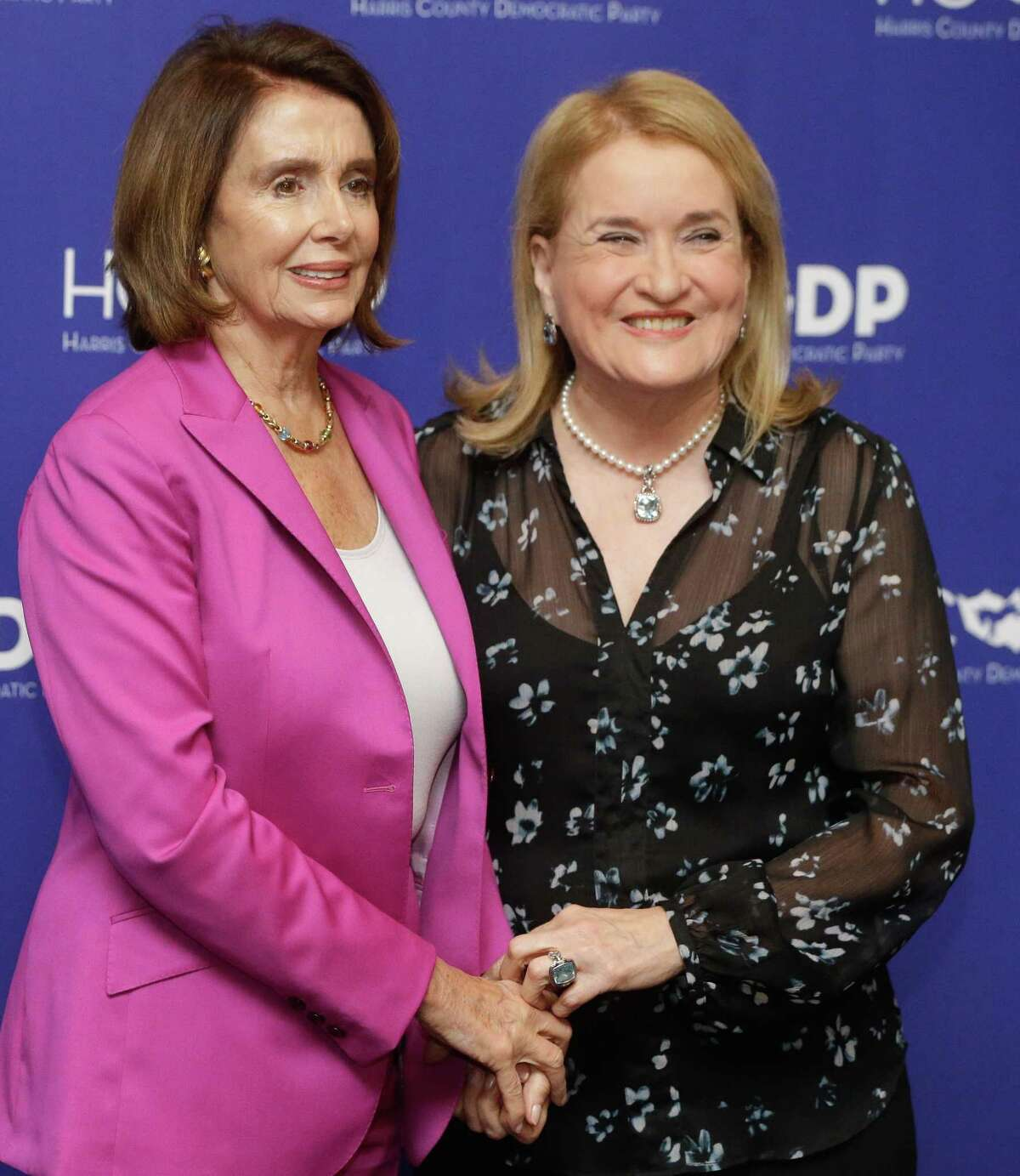 House Minority Leader Nancy Pelosi, left, Texas State Senator Sylvia Garcia, right, pose for photos at the Harris County Democratic Party fundraiser at the Marriott Marquis Houston, 1777 Walker Street, Friday, Feb. 16, 2017. Pelosi is the keynote speaker at the event.
