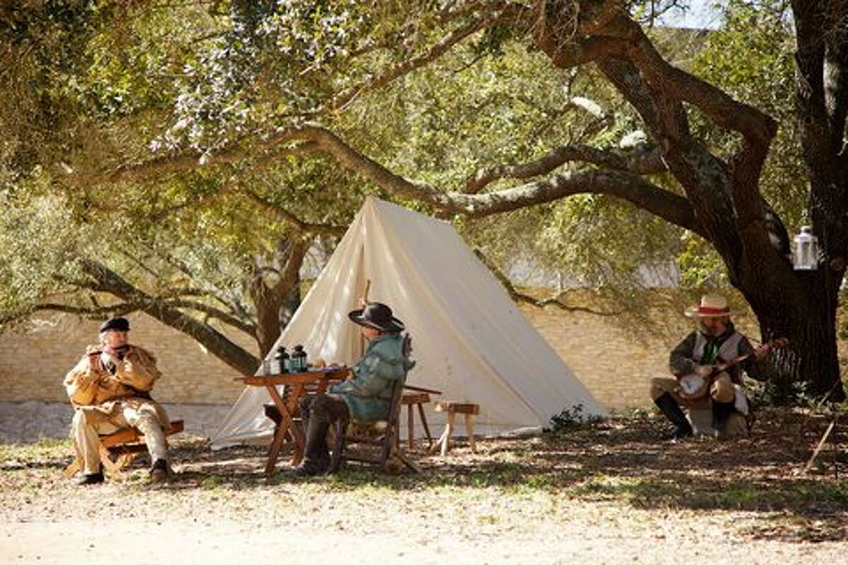 Historical re-enactors set up a bonafide 1836 Texas Army camp on the park grounds, where visitors can wander freely to learn how the soldiers and their families lived then, and witness musket and cannon firings.