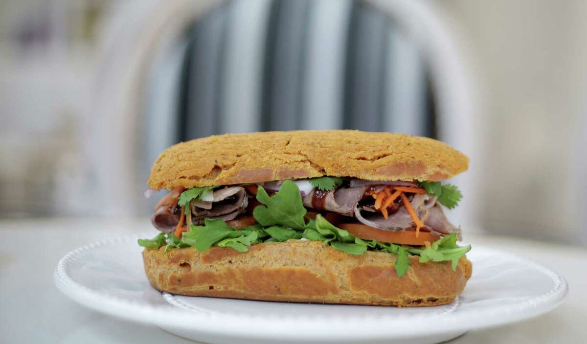 Along with sweet eclairs, Café Poêtes also features savory versions including a Pho-inspired sandwich.