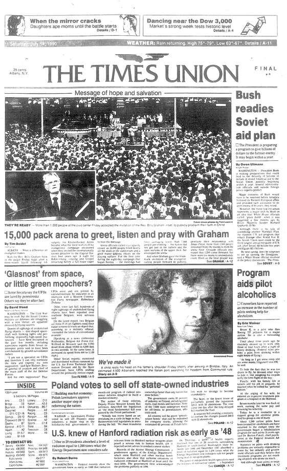 The July 13, 1990 cover of the Times Union's coverage of the Rev. Billy Graham's eight-day crusade in Albany. Photo: Times Union