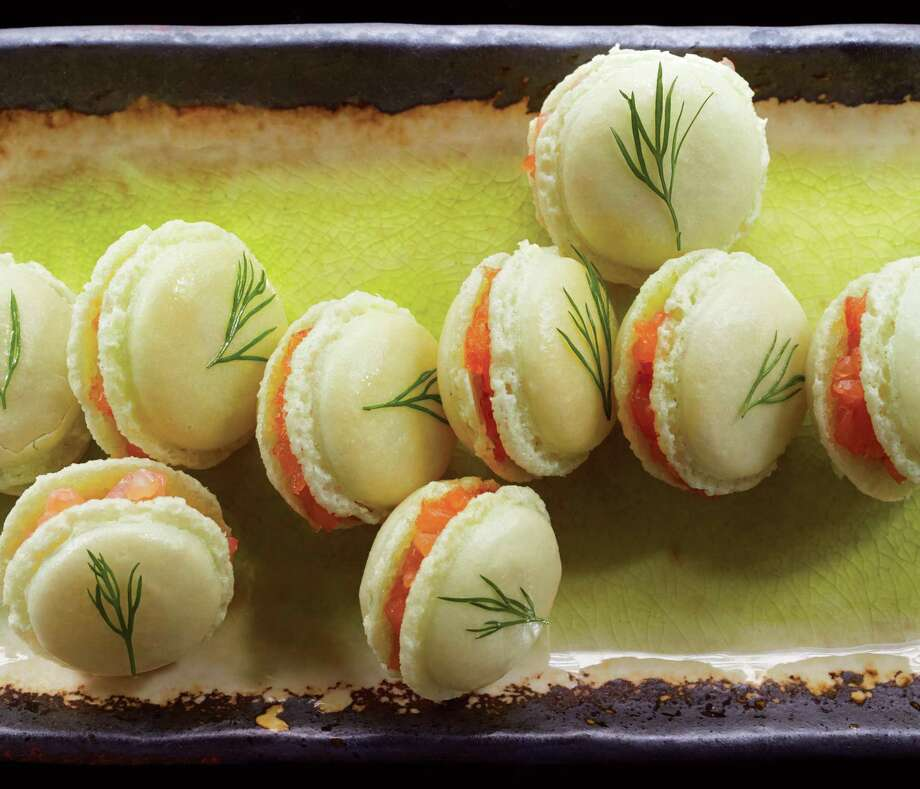 """Wasabi Macarons with Smoked Salmon from """"Peter Callahan's Party Food"""" by Peter Callahan. Photo: Courtesy Con Poulos /Clarkson Potter Publishers"""