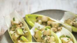 "Pear and Blue Cheese Endive Boats from ""Bring It!"" by Ali Rosen."