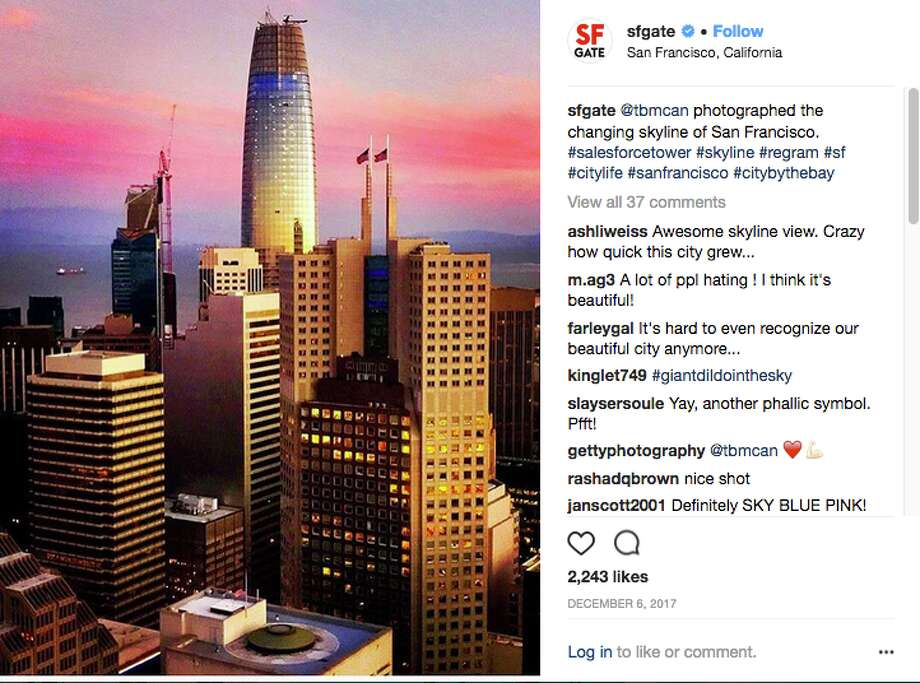 When a photograph of Salesforce Tower is posted on the SFGate Instagram page, the comments more negative than positive, soon follow. Photo: Instagram