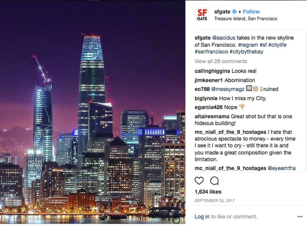 When a photograph of Salesforce Tower is posted on the SFGate Instagram page, the comments more negative than positive, soon follow.
