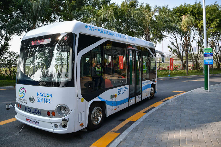 China is also betting big on electric vehicles, like this self-driving bus in Shenzhen. Photo: Stringer / Anadolu Agency / Getty Images