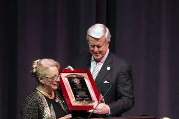 Dr. Linda Cassens accepts the 2018 Friend of the University Award from Dr. James Dennis, McKendree University president, at the Founders' Day 190th anniversary celebration on Feb. 20 at the Hettenhausen Center for the Arts on campus.