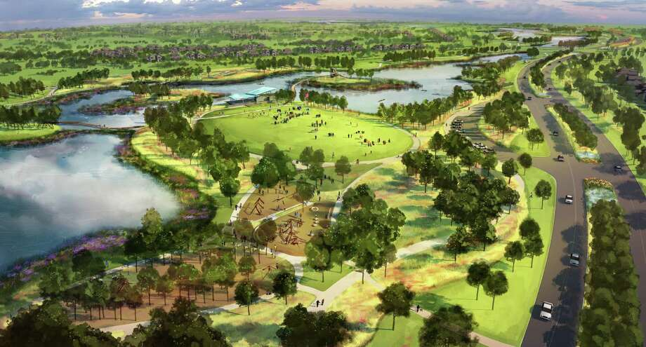 Josey Lake Park, a project by the Howard Hughes Corporation-Bridgeland, functions as stormwater detention infrastructure and creates a regional greenspace for the Bridgeland community linking residential villages and providing pedestrian access to the future town center. The Houston-Galveston Area Council recognized the project as a winner in the Planning Process category of the 2017 Parks and Natural Areas Award competition. Photo: Houston-Galveston Area Council