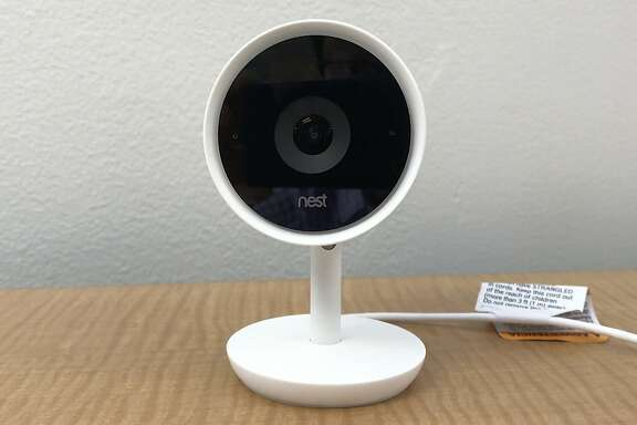 FILE- This July 25, 2017, file frame grab from video shows the Nest Cam IQ camera. Google�s voice-activated assistant is branching out to Nest�s deluxe security camera. The virtual assistant is being offered to owners of the Nest Cam IQ in a free update rolling out Wednesday, Feb. 21, 2018. (AP Photo/Ryan Nakashima, File)