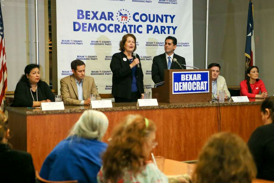 U.S. District 23 candidate Judy Canales (standing) speaks during a debate among Democratic candidates running for a chance to challenge Will Hurd in U.S. District 23 at Luby's, 911 N. Main, on Tuesday, Feb. 20, 2018. Photo: Marvin Pfeiffer /San Antonio Express-News / Express-News 2018