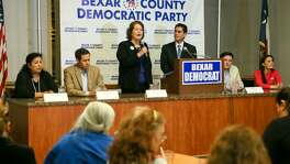 "Democratic candidates running for a chance to challenge Will Hurd in U.S. District 23 (from left): Angela ""Angie"" Villescaz, Jay Hulings,Judy Canales, Manuel Medina, Chairman of the Bexar County Democratic Party, Rick Trevino and Gina Ortiz Jones during a debate at  Luby's, 911 N. Main, on Tuesday, Feb. 20, 2018.  MARVIN PFEIFFER/mpfeiffer@express-news.net"
