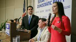 "Former Air Force intelligence officer Gina Ortiz Jones (from right) speaks during a debate with Democratic candidates running for a chance to challenge Will Hurd in U.S. District 23 : Rick Trevino,  Manuel Medina, Chairman of the Bexar County Democratic Party, Judy Canales, Jay Hulings and Angela ""Angie"" Villescaz at  Luby's, 911 N. Main, on Tuesday, Feb. 20, 2018.  MARVIN PFEIFFER/mpfeiffer@express-news.net"