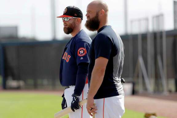 Houston Astros catchers Brian McCann (16), Evan Gattis (11) during spring training at The Ballpark of the Palm Beaches, Wednesday, Feb. 21, 2018, in West Palm Beach.   ( Karen Warren / Houston Chronicle )