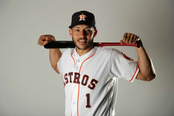WEST PALM BEACH, FL - FEBRUARY 21:  Carlos Correa #1 of the Houston Astros poses for a portrait at The Ballpark of the Palm Beaches on February 21, 2018 in West Palm Beach, Florida.  (Photo by Streeter Lecka/Getty Images)