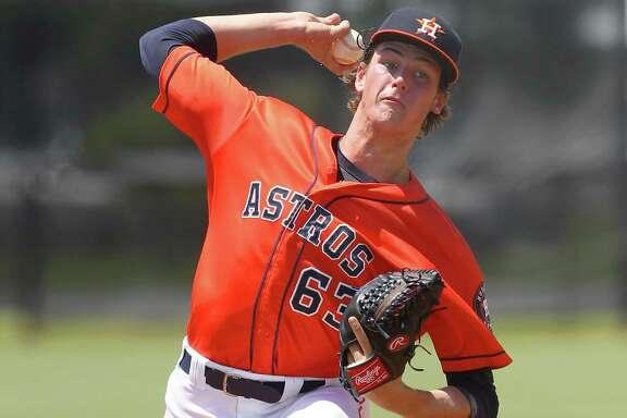 22 JUL 2016: 2016 Astros first round pick Forrest Whitley makes his professional debut during the Gulf Coast League game between the GCL Marlins and the GCL Astros at the Osceola County Stadium complex in Kissimmee, Florida.  (Photo by Cliff Welch/Icon Sportswire via Getty Images)