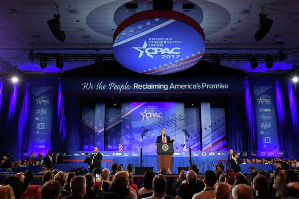 President Trump addressed CPAC, the annual conservatives' conference, in Oxon Hill, Maryland, last year. He is scheduled to speak to the gathering on Friday.