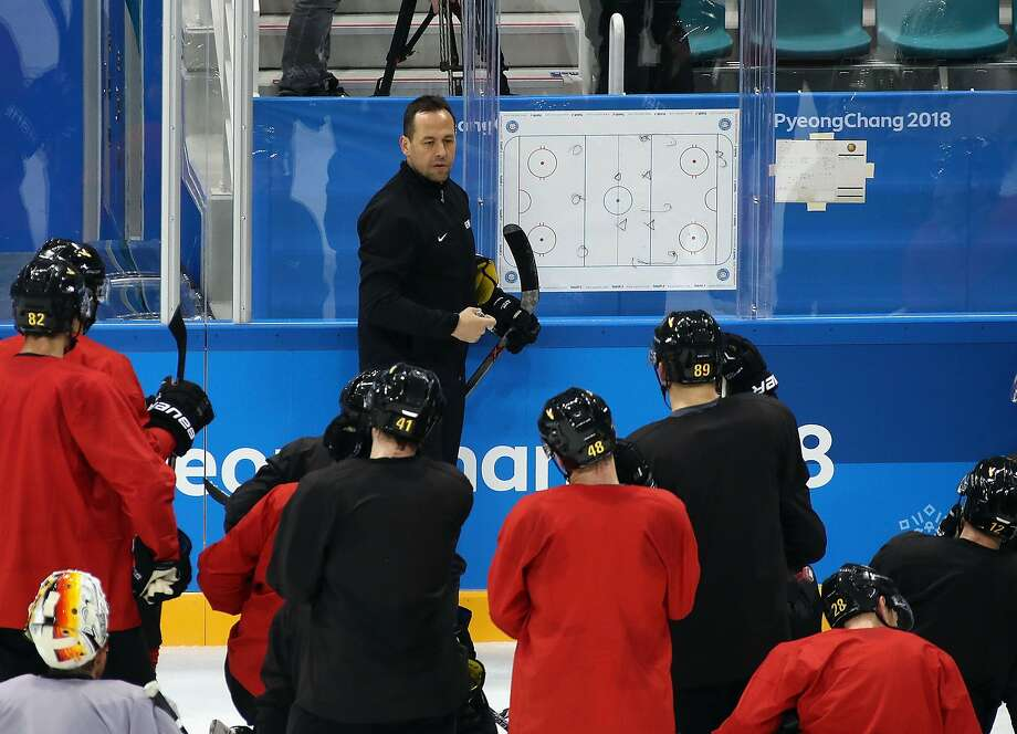 Marco Sturm of the Men's German Ice Hockey Team conducts practice ahead of the PyeongChang 2018 Winter Olympic Games at the Gangneum Hockey Centre on February 9, 2018 in Pyeongchang-gun, South Korea. (Photo by Bruce Bennett/Getty Images) Photo: Bruce Bennett, Getty Images
