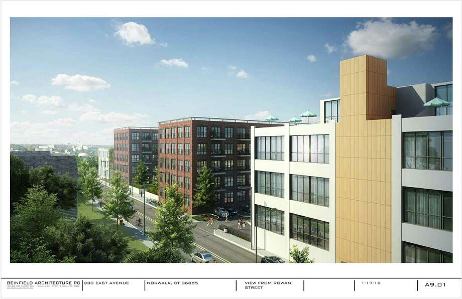 Initial renderings, which will be refined over upcoming weeks, show the proposed development at 230 East Ave. The development is requesting amendments to zoning regulations for the East Norwalk parcels that would mirror the regulations in the South Norwalk Transit-Oriented District. Photo: Contributed Image / Beinfield Architecture PC