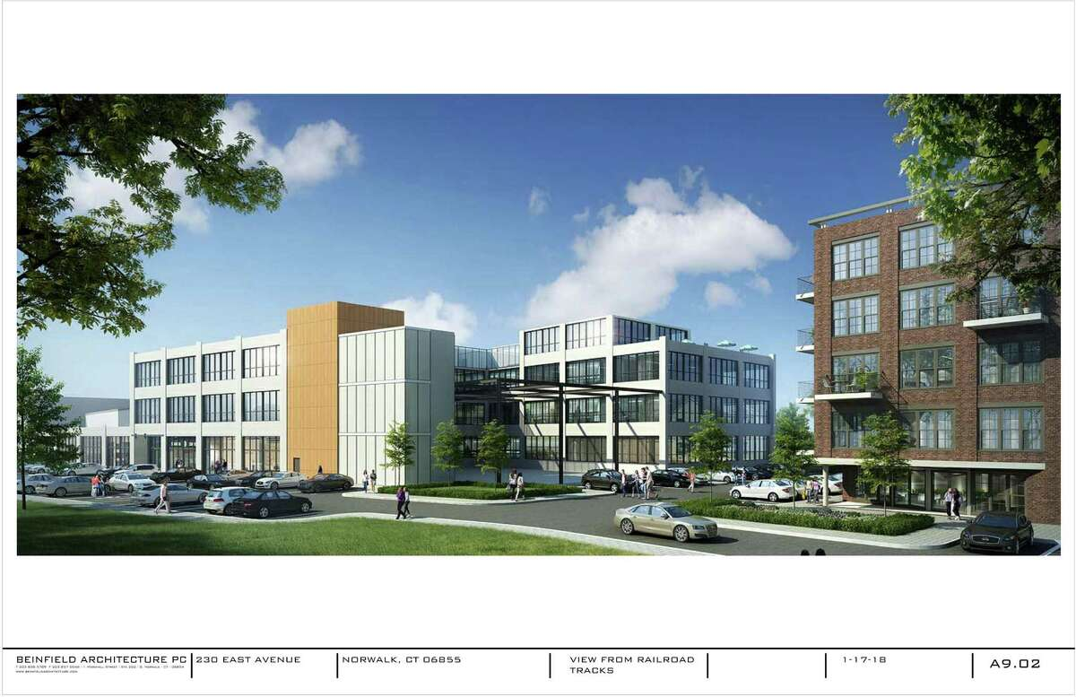 Initial renderings, which will be refined over upcoming weeks, show the proposed development at 230 East Ave. The development is requesting amendments to zoning regulations for the East Norwalk parcels that would mirror the regulations in the South Norwalk Transit-Oriented District.