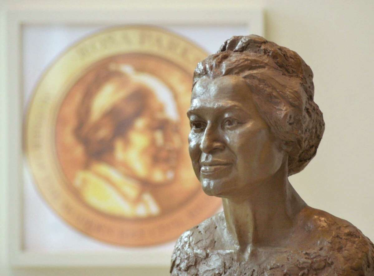 A bust of Rosa Parks sits in the lobby of the Rosa Parks Museum in Montgomery, Ala.