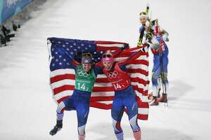 PYEONGCHANG-GUN, SOUTH KOREA - FEBRUARY 21: Randall Kikkan USA and Diggins Jessica USA celebrates winning gold during the women's Cross Country Team Sprint Free Technique at Alpensia Cross-Country Centre on February 21, 2018 in Pyeongchang-gun, South Korea. (Photo by Nils Petter Nilsson/Getty Images)