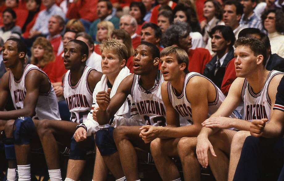 A star-studded 1987-88 Arizona team included Sean Elliott (left), Anthony Cook, Steve Kerr, Joe Turner, Craig McMillan and Tom Tolbert. The team lost to Oklahoma in the Final Four. Photo: Tucson Citizen File Photo