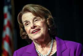Sen. Dianne Feinstein (D-Calif.) speaks at a lunch hosted by the Greater Riverside Chambers of Commerce convention Center on Oct. 11, 2017, in Riverside, Calif. (Irfan Khan/Los Angeles Times/TNS)