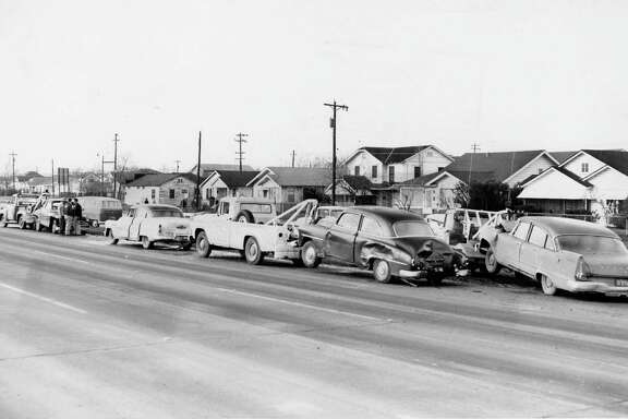 From the Feb. 4, 1959, Houston Chronicle: Fenders crumpled, radiators leaked, and trunks were bashed during a chain reaction traffic mishap involving seven cars in the 3300 block of the Eastex Freeway Wednesday. Two motorists were injured, neither seriously.