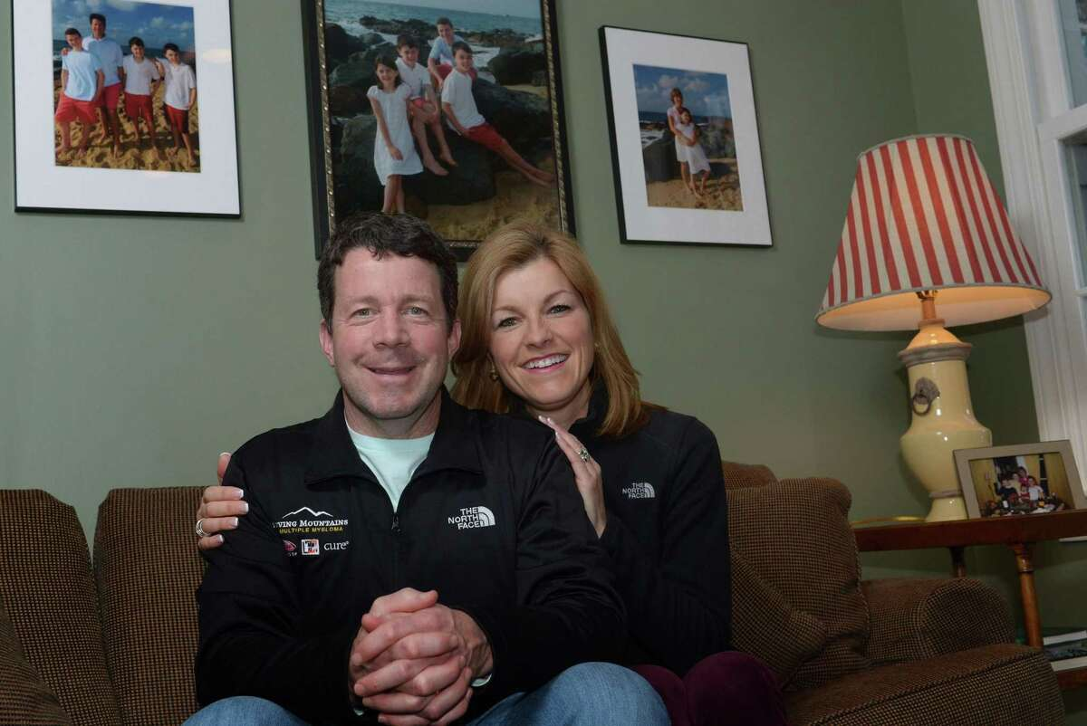 Multiple Myeloma survivor J.P. Kealy and his wife Annemarie at their Wilton home Tuesday, February 20, 2018, in Wilton, Conn. A Norwalk-based cancer nonprofit, the Multiple Myeloma Research Foundation, is helping cancer patients including Kealy climb Mt. Everest next month. Kealy made the commitment that he was going to be strong enough to climb this mountain before he underwent a stem cell transplant.