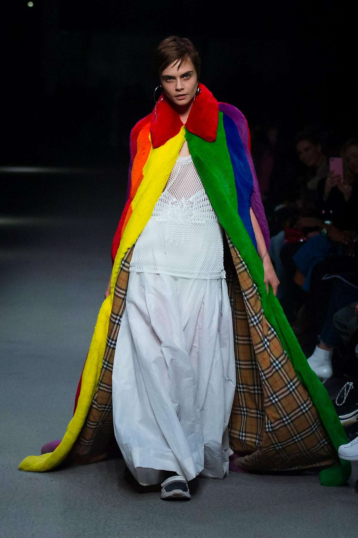 Christopher Bailey's final collection for Burberry features a rainbow scheme in tribute to the LGBT community.