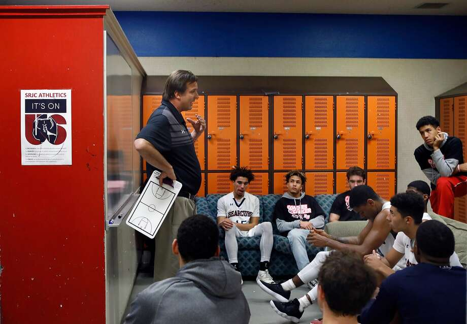 Craig McMillan talks with his team during halftime. Longtime Santa Rosa Junior College coach Craig McMillan is having another successful season in his 18th year there. Photo: Brant Ward