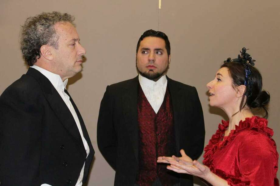 "Mark A. Sank, Robert Rosado and Ash Lago play the leads in the Town Players of New Canaan's production of ""The Heiress"" which opens Feb. 23, 2018 and runs through March 2 in New Canaan, Conn. Photo: Contributed Photo / Contributed Photo / New Canaan News contributed"